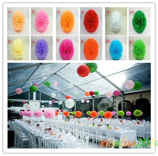 "Wholesale - 100pcs 4""(10cm) Tissue Paper Pom Poms Wedding Party Decor Craft festival decoration Fedex Free Shipping PF01"