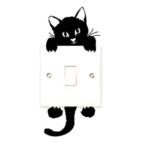 Essential New Cat Wall Stickers Light Switch Decor Decals Art Mural Baby Nursery Room Wallpaper Home Room Office Decorative