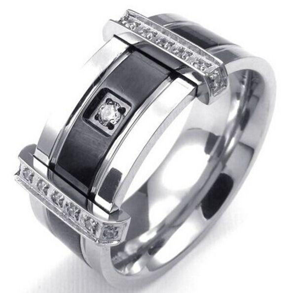 Fascino da uomo in argento 925 con zirconi colorati Fascino elegante da sposa in argento nero taglia da 7 a 13 Drop Shipping
