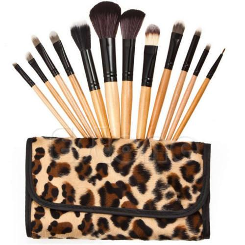 Woman Professional 12 PCs Brush Cosmetic Make Up Tool Set With Leopard Case Bag Kit Fashion Stock Ready