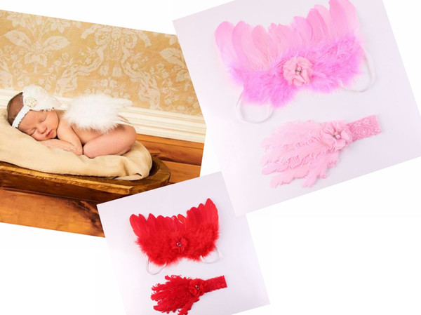 5SET baby big Curly feathers Chiffon flower Lace Headband Angel Wing little fairytale costume Photo Prop hair band hair accessories YM6132