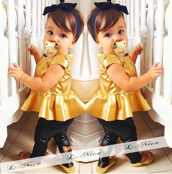 INS Girls Set With Bow Tie Blingbling Baby Gold Suit Kids Fashion Clothing Children's Wear Cute Baby 2pieces 2017 New Summer