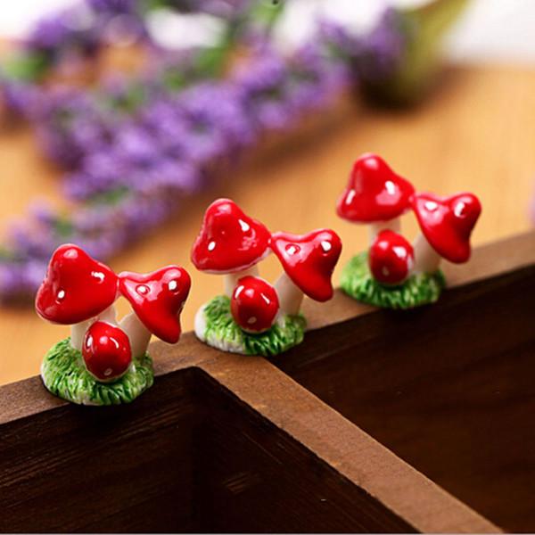 Fai da te Carino Mini Mushroom Resin Artigianato Fairy Garden Miniature 1 PZ Giardino Ornamento Decorazione Terrario Figurine Decor