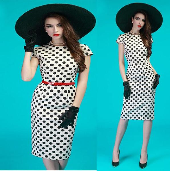 Retro vento manga curta branco preto bolinhas vestido de escritório senhora lápis vestido de trabalho vestidos plus sizesize s para xxl