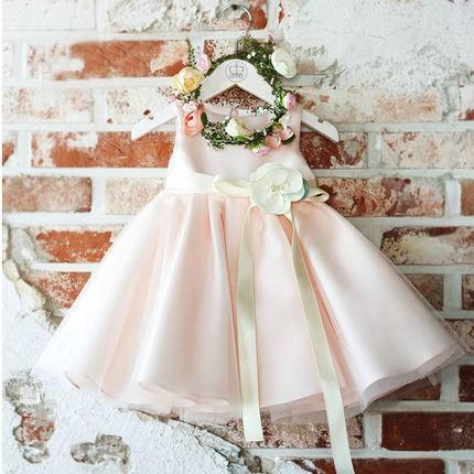 Blush Pink Satin Princess Flower Girl Dresses For Weddings 2017 Beige Hand Made Flower Sash Ankle Length Girls Birthday Party Gown EN11215