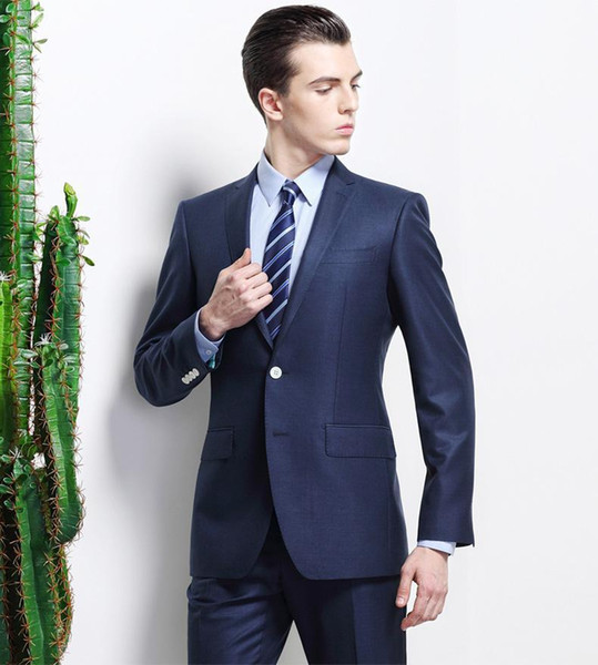 fashion style New Arrival Notched Lapel Royal Blue Groom Tuxedos Slim Fit Best Men's Wedding Dress Prom Clothing(Jacket+pants)