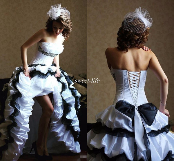 Victorian Gothic Black and White Wedding Dresses 2016 Strapless Ball Gown Ruffles Satin Corset Beaded Cheap Vintage Bridal Gowns Custom Made