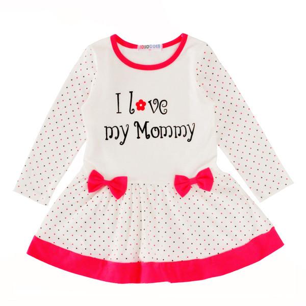 Großhandel Baby Mädchen Kleid Weihnachten Herbst Brief Ich Liebe Meine Mama Kinder Kleider Outfits Polka Dot Bogen Langarm Kinder Kleid Mädchen