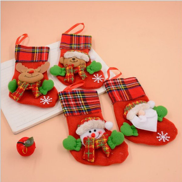 Free shipping Amazing designs 10pcs/lot Christmas gift Christmas Stocking Socks Sacks Embroidery Santa Snowman Reindeer candy bag socks