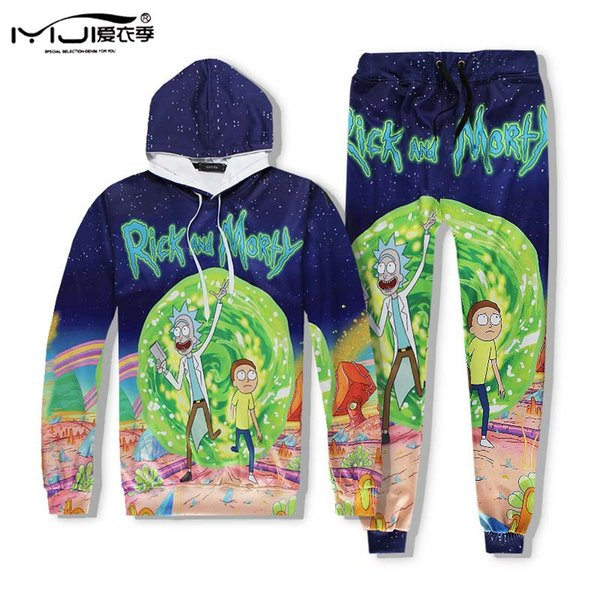 Großhandels-Trainingsanzug-Karikatur Rick und Morty Hoodie-Mann-Hüften-Knall 3D gedrucktes Sweatshirt und Hosen Harajuku UnisexHoodie-Kleidung Mh13 Z25