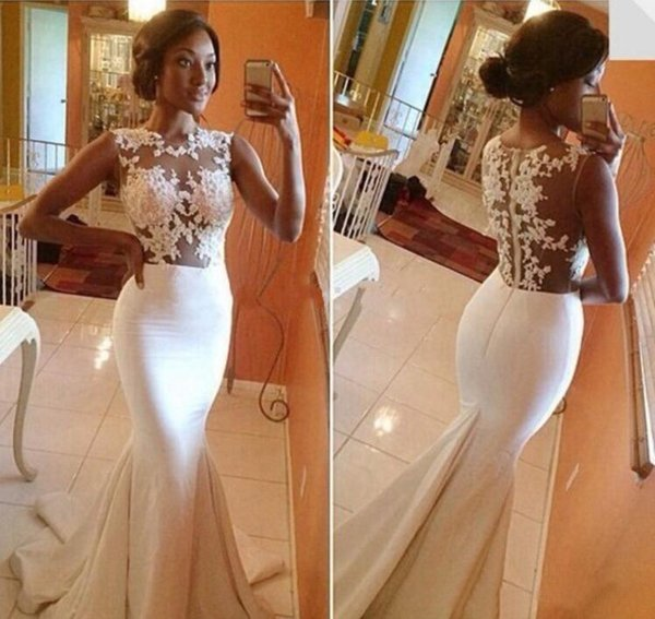 2015 Hot Big Discounts Lace Mermaid Prom Dresses Appliques Sheer Crew Nwck Brush Trains Formal Evening Party Celebrity Wedding Gowns BO5688