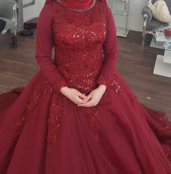 Jewel Red Long Sleeves Sequins Vintage Evening Dresses Ball Gown Lace Luxurious Evening Gowns Arabic Prom Dresses