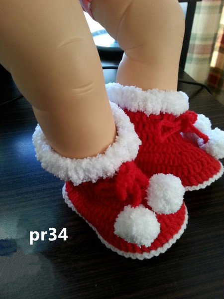 Hot Sale Handmade Knit Red Baby crochet shoes baby boots infant handmade first walkers kids knit boots children birthday gift 0-12M customer