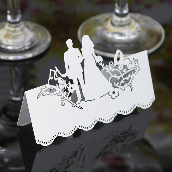 100PCS Wedding Party Table Name Place Cards Favor Decor Bride and Groom Laser Cut Design Colorful