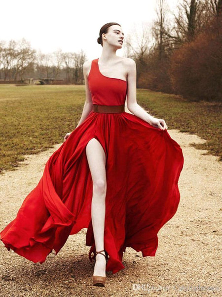 2016 Soft Red Split Prom Dresses One Shoulder Chiffon A Line Beach Evening Party Gowns Wear For Women Cheap Dresses BA1576