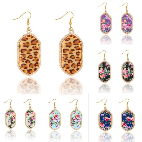 New Sexy Leopard Printing Gold Earrings Vintage Original Brand Geometry Gem Stone Earrings For Women Banquet Party Jewelry