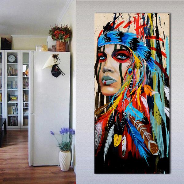 1 Panel Portrait Leinwand Kunst Wandbilder Für Wohnzimmer Frau Gefiederten Stolz Malerei Wohnkultur Gedruckt Kein Rahmen