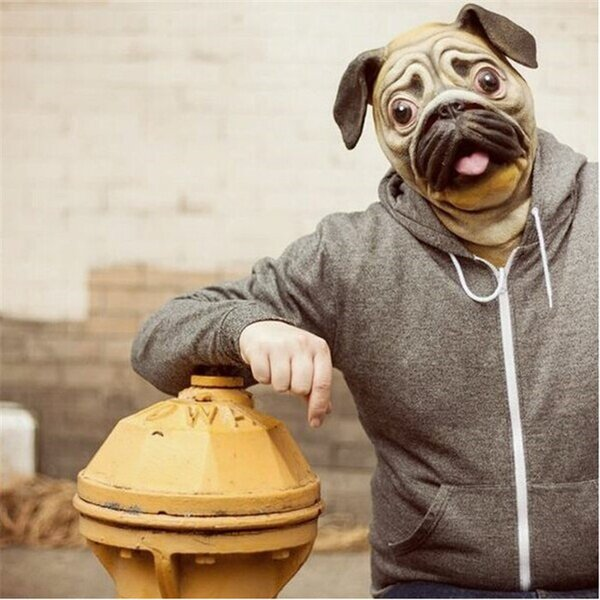 Wholesale-Free shipping Pug Dog Full Head Mask Eco-friendly Latex Animal Female Masquerade Ball Dress Up Party Prop Pug Mask