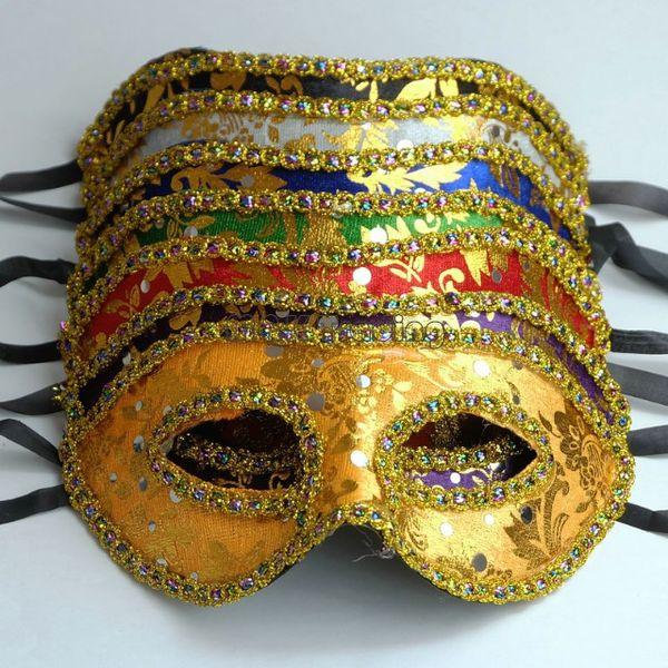 Barato 7 Cores Masquerade Máscara de Ouro Rosto Com Máscara de fronteira Unisex Projeto Meia Traje Máscara de Olho Bola 20 pcs Navio Livre