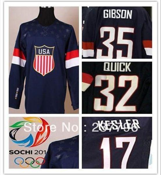8946d1d08 2019 2014 Sochi Team USA  35 John Gibson  17 Ryan Kesler  32 Jonathan Quick  Jersey Custom American Navy Blue Ice Hockey Uniform From Probowl