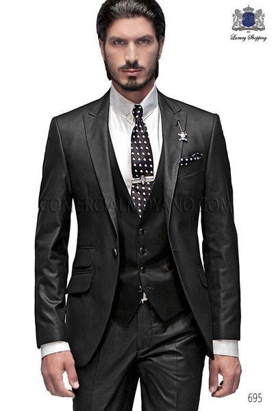 New Arrivalc -- Stylish Peak Lapel Charcoal Slim Fit Groom Tuxedos Haut Men's Wedding Dress Prom Clothing(Jacket+pants+Vest)668