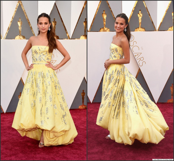 best selling 2016 88th Oscar Celebrity Dresses Alicia Vikander Yellow Strapless High Low Taffeta with Beads Sequins A Line Red Carpet Gowns