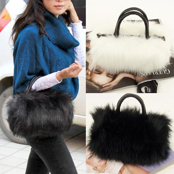 Wholesale-Fashion Women's Korean Style PU Leather & Faux Fur Tote Clutch Shoulder Bag Faux Fur Handbag Women Leather Handbags