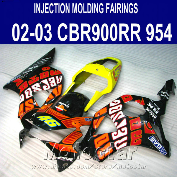 Injection molding High quality fairing kit for Honda cbr900rr fairings 954 2002 2003 CBR900 RR red yellow black bodykits CBR954 02 03 YR12
