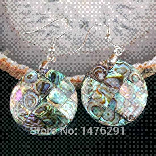 New Charm Abalone MOP Shell Wafer Beads Pendant & Earring 1 SET Charms Cheap Charms