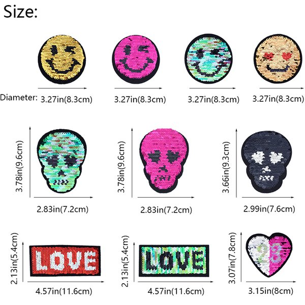 10 Styles Reversible Change Color Sequin Patch for Clothing Jeans Iron on Transfer Applique Sew on Sequined Patches for Jacket Sweater DIY