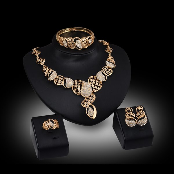 African Jewelry Sets 18K Gold Plated Fashion Bridal Necklace Bracelet Ring Earrings Wedding Accessories Jewellery Set