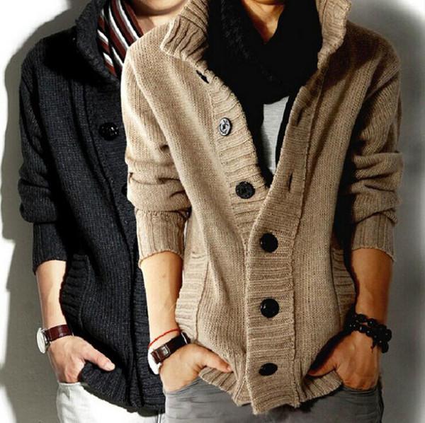 happy_snow / 2014 Moda New outono inverno dos homens Cardigan camisola casacos mistura De Lã Engrossar Magro fit blusas de malha roupas masculinas