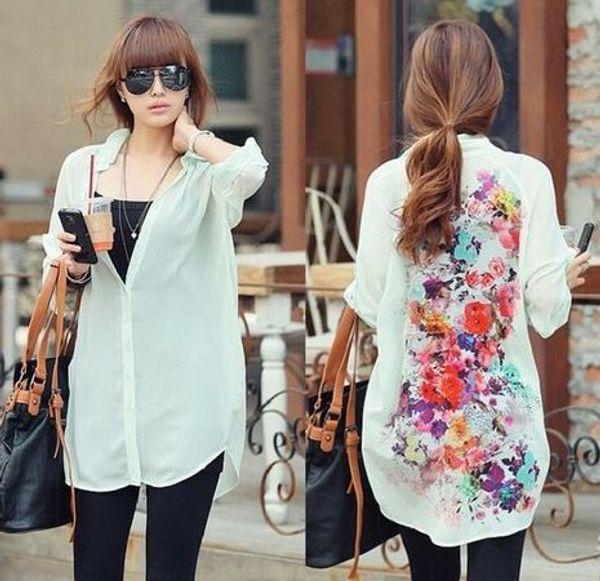 Camicie larghe in chiffon floreale retrò vintage da donna in stile europeo Migliori camicette da donna coreane casual casual Camicette con top a maniche lunghe