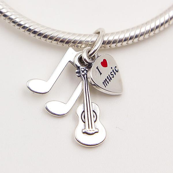 MUSIC TRINITY SILVER ARMBAND MIT ROTEN EMAILLE DIY Perlen Solide 925 Silber Nicht überzogen Für Pandora ArmbandCharms