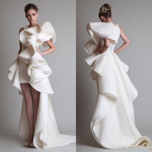 Super Fabulous Krikor Jabotian Luxury Ruffles High Low Silk Like Satin Evening Dresses Zipper Back Court Train 2017 Custom Made Women Gowns