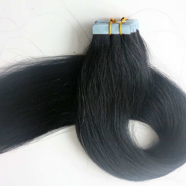 Top Quality 100g 40pcs/50pcs Tape in Hair Extensions Glue Skin Weft Brazilian Indian human hair 18 20 22 24inch #1/Jet Black