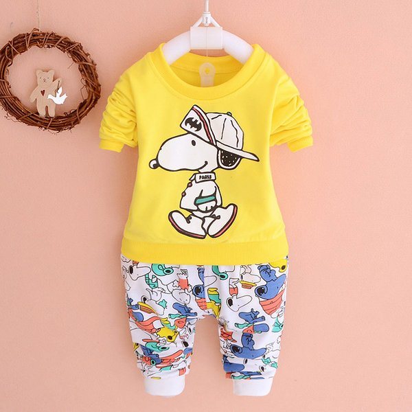 New Autumn spring kids suit girl boys shirt+pant set 2 pieces children long sleeve cartoon clothes suit 100% cotton