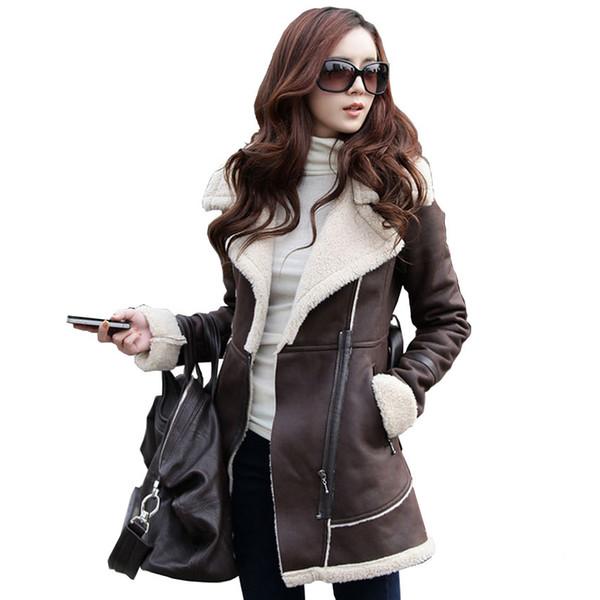 All'ingrosso-Chaquetas Mujer Invierno 2015 donne inverno cappotto di pelle di pecora lungo plus size economici collo di pelliccia giù giacca femminile soprabito parka