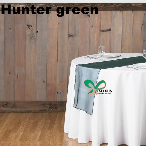 top popular Hunter Green Nice Looking Organza Table Runner For Table Cloth Used On Wedding Party 2019