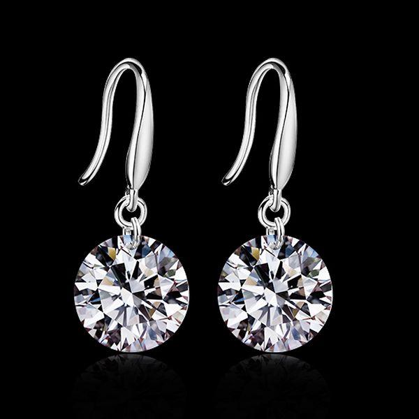 2015 nouveau design 925 sterling CZ diamant goutte boucles d'oreilles mode bijoux beau mariage / fiançailles cadeau livraison gratuite