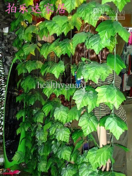 top popular 240CM Length Artificial green grape vines large leafs Winding vine Green Leaf Ivy flower Rattan for Home Decor Bar Restaurant Decorations 2019