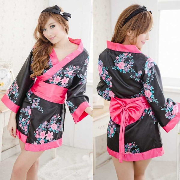 top popular Free shipping new sexy lingerie adult fun uniforms Japanese kimono lace sexy home service pajamas temptation ice skirt playing skirt role pl 2019