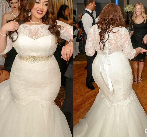2016 New Vestidos Mermaid Wedding Dresses Plus Size Half Sleeves Illusion Neck Lace Beads Belt Sweep Train Organza Formal Cheap Bridal Gowns