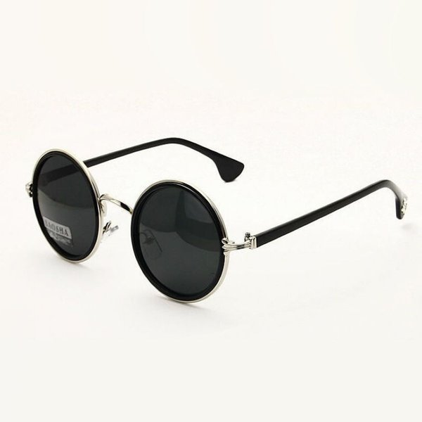 discount mens sunglasses  Retro Round Sunglasses For Men / Women Metal Hinge Frame Polarized ...