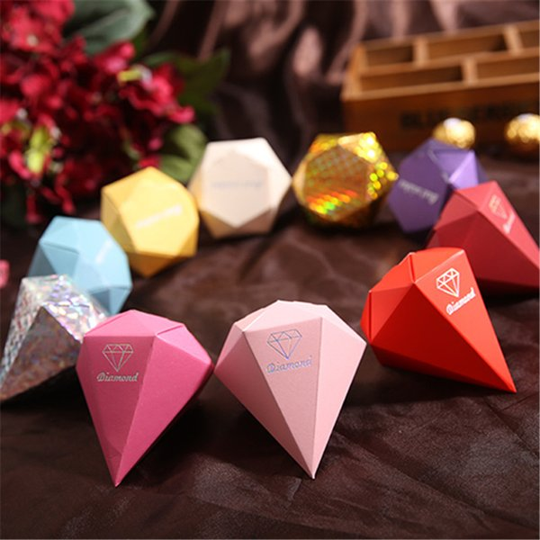 Diamond Candy Box Wedding Favour Boxes Red Gold Silver Sweet Gift Box Casamento Wedding Favors and Gifts LZ0688