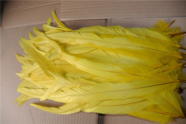 Free shipping 100 pcs/lot 12-14inch bright yellow COQUE rooster TAIL Feather Loose for party decor costumes