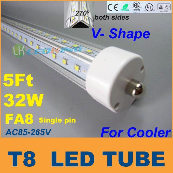 5 Füße FA8 Enden V Form Doppelseiten T8 LED Rohr 32W 5FT 1.5M Für kühlere Tür LED-Leuchtstofflampen AC85-265V CER FCC ETL SAA UL