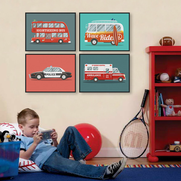 Modern Cartoon Rainbow Car Bus Travel Trip A4 Large Art Print Poster Wall Picture Canvas Painting No Framed Kids Room Home Decor