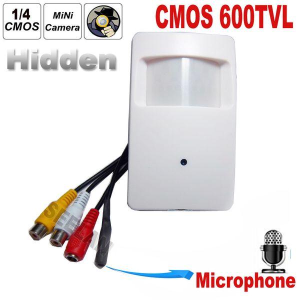 CMOS Color 600TVL CCTV security Camera Motion Detector PIR STYLE Indoor CCTV Mini PIR Style Surveillance Camera microphone