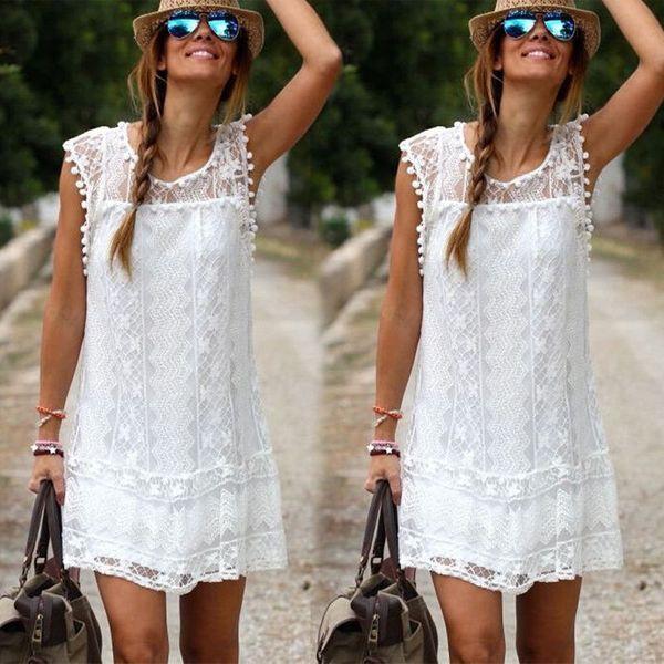Wholesale-2016 Women Sleeveless White Lace Dress Sexy Boho Short Mini Dresses Ladies Summer Beach Party Sundress Size 6-16